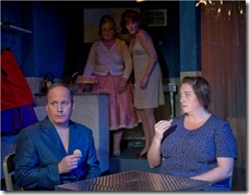 "Guy VanSwearingen, Laurie Larson, Kate Buddeke and Kirsten Fitzgerald in A Red Orchid Theatre's 'The New Electric Ballroom"". Photo credit: Michael Brosilow."
