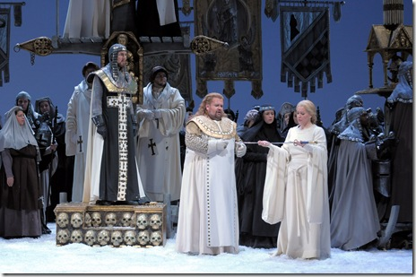 Georg Zeppenfeld, Johan Botha and Emily Magee Lyric Opera Lohengrin - Dan Rest
