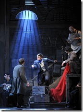 Justin Scott Brown as Marius with the student revolutionaries in a scene from the 25th-Anniversary Tour of 'Les Miserables'.  Photo credit: Deen van Meer