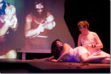 Adam Dodds and Christine Lin  in Halcyon Theatre's Iphigenia ... (a rave fable) Photo by Tom McGrath.