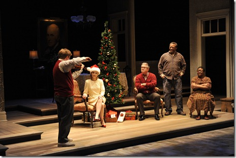 (l to r) David (Alex Weisman) plays his new violin for his mother Dolores (Barbara Garrick), his father James (Scott Jaeck), Elroy (Cedric Young) and Mary (Myra Lucretia Taylor) in Thomas Bradshaw's Mary. Photo by Liz Lauren