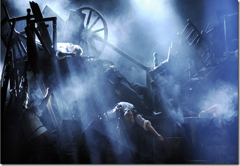The barricade scene from the 25th-Anniversary tour of 'Les Miserables'.  Photo credit: Deen van Meer.