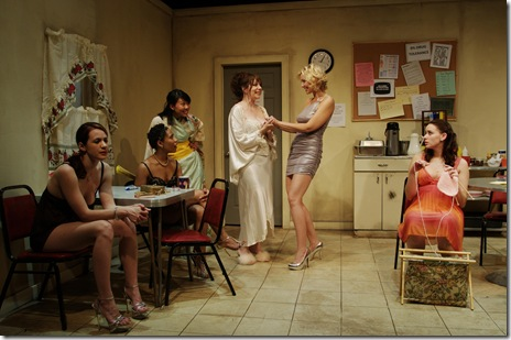 Dana Black, Melissa Canciller, Joanne Dubach, Ariana Dziedzic, Marguerite Hammersley, Katherine Keberlein, Kyra Morris - in 'Bordello' at Chicago Dramatists.
