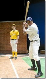 Pictured, from left:  Tyler Ross as Joey Stoshack, Kamal Angelo Bolden as Jackie Robinson