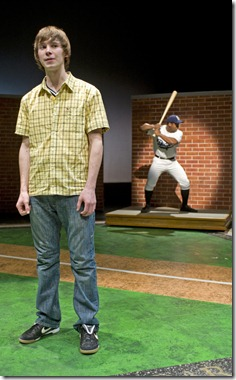 Pictured, from left:  Tyler Ross as Joey Stoshack, Kamal Angelo Bolden as Jackie Robinson. Photo credit:  Michael Brosilow