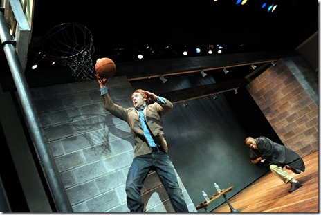 "Cliff Chamberlain and Samuel G. Roberson, Jr. in a scene from Mat Smart's 'Samuel J. and K."" at Steppenwolf Theatre in Chicago.  Photo by Peter Coombs."