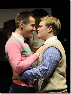 College sweethearts (l to r) Jonathan (Eddie Bennett) and David (Alex Weisman) embrace as they get ready to leave school for winter break in Thomas Bradshaw's Mary. Photo by Liz Lauren.