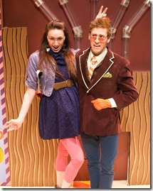 Violet and Willy Wonka in 'Charlie and the Chocolate Factory' by Emerald City Theatre Chicago.