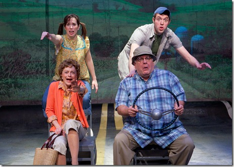 Diane Dorsey (Mom), Don Forston (Dad), Katherine Banks (Sis), Alex Goodrich (Don) in 'Leaving Iowa' by Tim Clue and Spike Manton - directed by Rachel Rockwell