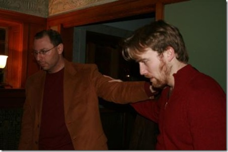 Paul Chakrin as Claudius and Nick Goodman as Laertes in DreamLogic's 'Hamlet' at the Gunder Mansion.
