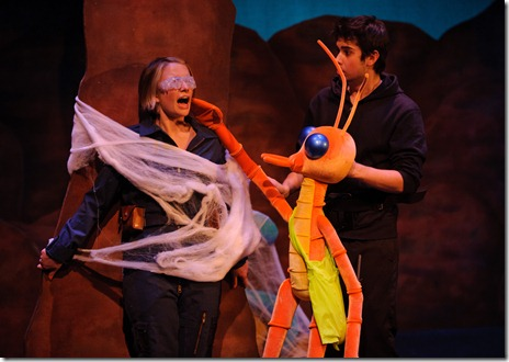 """Bug (Joey Richter) discovers February (Denise Donovan) trapped in the Bug World Hatchery.  """"Starship the Musical"""" is now playing at Chicago's Center on Halsted theatre. Photo by Chris Dzombak."""