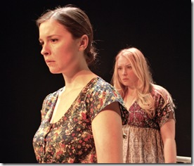 Leah Karpel as Iris and Jennifer Alexander as Matty in 'Feet of Clay' by Stephen Louis Grush, presented by LASTmatch Theatre Company, Chicago.