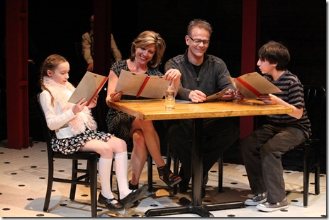 Emily Leahy, Philip Earl Johnson, Lia D. Mortensen, Noah Jerome Schwartz in The Big Meal at American Theater Company.