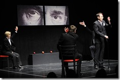 Maryna Yurevich, Pavel Haradnitski and Aleh Sidorchyk in Belarus Free Theatre's 'Being Harold Pinter'. Photo by Liz Lauren.