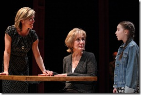 Lia D. Mortensen, Peggy Roeder, Emily Leahy in The Big Meal at American Theater Company.