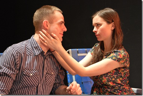 Brandon Ford and Leah Karpel in 'Feet of Clay' by Stephen Louis Grush, presented by LASTmatch Theatre Company, Chicago.