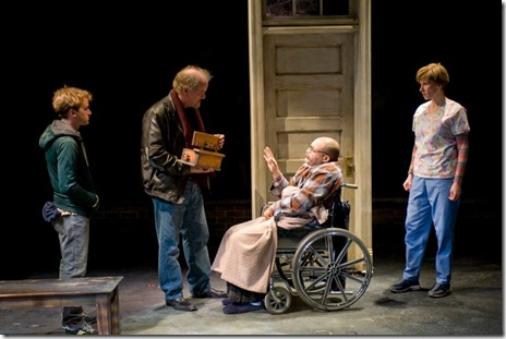 Patrick Andrews, Francis Guinan, Joe Miñoso and Karen Janes Woditsch - 'Do the Hustle' by Brett Neveu at Writers' Theatre.