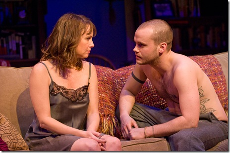Sally Murphy and Stephen Louis Grush in 'Sex with Strangers' at Steppenwolf Theatre. Photo by Michael Brosilow.