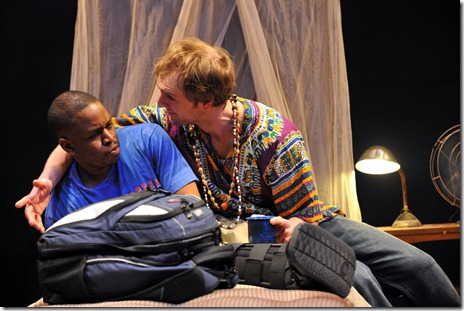 "Samuel G. Roberson, Jr. and Cliff Chamberlain in a scene from Mat Smart's 'Samuel J. and K."" at Steppenwolf Theatre in Chicago.  Photo by Peter Coombs."