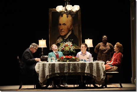 (l to r) James (Scott Jaeck), David (Alex Weisman), Jonathan (Eddie Bennett) and Dolores (Barbara Garrick) sit down to a family dinner while Mary (Myra Lucretia Taylor) tends to them in Thomas Bradshaw's Mary. Photo by Liz Lauren.