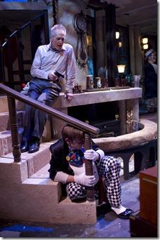 SLEUTH Larry Yando with gun & Lance Baker in clown