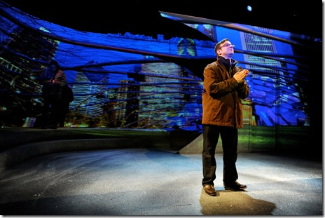 Stef Tovar in a scene from Route 66 Theatre's 'A Twist of Water'.  Projections by John Boesche.