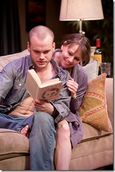 Stephen Louis Grush and Sally Murphy in 'Sex with Strangers' at Steppenwolf Theatre. Photo by Michael Brosilow.