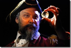 "Colonel John Herncastle (Dave Skvarla) steals the legendary Moonstone from its hidden vault; in Lifeline Theatre's world premiere production of ""The Moonstone,"" adapted by Robert Kauzlaric, directed by Paul S. Holmquist, based on the classic mystery by Wilkie Collins. Photo by Suzanne Plunkett."