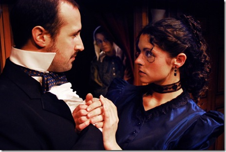 "Godfrey Ablewhite (C. Sean Piereman, left) proposes to Rachel Verinder (Ann Sonneville, right), while Drusilla Clack (Kaitlin Byrd, center) spies from the next room; in Lifeline Theatre's world premiere production of ""The Moonstone,"" adapted by Robert Kauzlaric, directed by Paul S. Holmquist, based on the classic mystery by Wilkie Collins. Photo by Suzanne Plunkett."