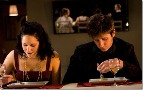 Jaimelyn Gray as Sister and Jake Lindquist as Young Man in TUTA Theatre's remount of Bertolt Brecht's 'The Wedding'.