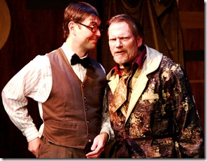 Eric Damon Smith (left) as Mosca and Don Bender as Volpone in City Lit's VOLPONE.  Photo by Johnny Knight.