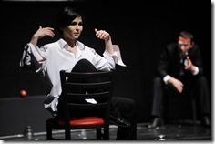 Yana Rusakevich and Aleh Sidorchyk in Belarus Free Theatre's 'Being Harold Pinter'. Photo by Liz Lauren.