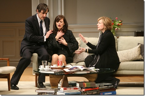 (l to r) Alan (David Pasquesi) tries to comfort his wife Annette (Beth Lacke) as Veronica (Mary Beth Fisher) continues to discuss the argument between their two children. Photo credit Eric Y. Exit