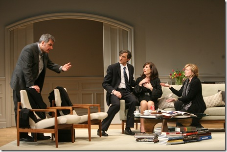 (l to r) Michael (Keith Kupferer) tries to rationalize the situation while speaking to Alan (David Pasquesi) Annette (Beth Lacke) and Veronica (Mary Beth Fisher). Photo credit: Eric Y. Exit