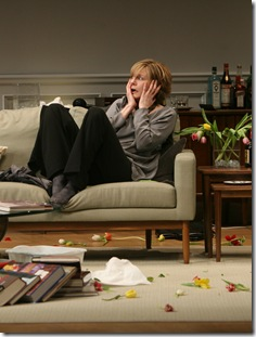 Veronica (Mary Beth Fisher) is horrified as her civil get together turns into chaotic mayhem. Photo credit: Eric Y. Exit