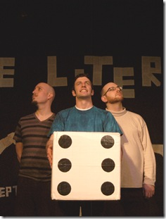 Ned Record, Derek Jarvis and Nick Freed in 'The Literati', presented by Chicago dell'Arte.