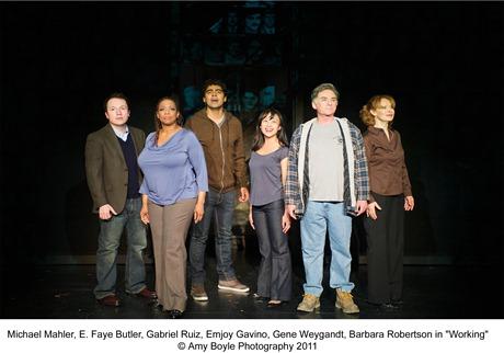 Michael Mahler, E. Faye Butler, Gabriel Ruiz, Emjoy Gavino, Gene Weygandt, Barbara Robertson in Broadway in Chicago's 'Working'