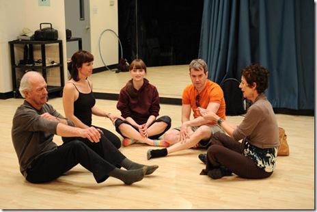Steve Key, Joseph D. Lauck, Rae Gray, Lori Myers, and Carmen Roman in a scene from Victory Garden's 'Circle Mirror Transformation'.