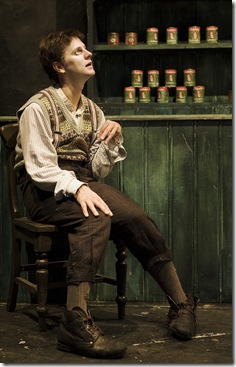 Tadhg Murphy in Ireland's Druid Theatre Company's The Cripple of Inishmaan, playing at Chicago Shakespeare Theater. Photo by Ros Kavanagh