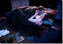 Dennis Grimes (Master) and Justine C. Turner (Margarita) in Strawdog's 'The Master and Margarita'. Photo by Chris Ocken.