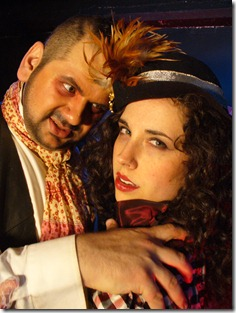 Gabe Garza as Hyde, Sarah Scanlon as Eve, in The Mammals' original production of 'The Dream Journal of Doctor Jekyll', now playing at Zoo Studio.