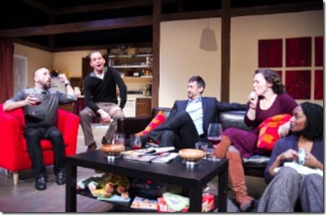 from left) Mitchell J. Fain is Alan, John Byrnes is Tom, Steve Hadnagy is Jean-Pierre, Rebecca Spence is Jane and Lily Mojekwu is Merrill in Theater Wit's Chicago premiere of Melissa James Gibson's rueful comic drama 'This'. Photo by Johnny Knight.