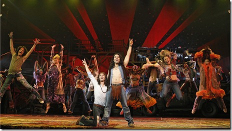 Center: Paris Remillard as Claude and Steel Burkhardt as Berger, in a scene from the national tour of 'Hair'. Photo credit: Joan Marcus
