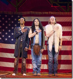 Lawrence Stallings, Steel Burkhardt and Matt DeAngelis in the 'Hair' National Tour. Photo: Joan Marcus