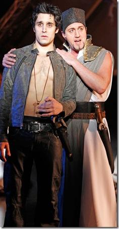 Jared Zirilli and Darren Matthias in a scene from Elton John and Tim Rice's Tony Award-winning musical AIDA at Drury Lane Theatre Oakbrook Terrace. Photo credit: Brett Beiner.