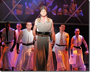 Jarrett Kelly, Peter Vandivier, Brandon Springman, Darren Matthias, Michael Glazer and Todd Rhoades in Elton John and Tim Rice's Tony Award-winning musical AIDA at Drury Lane Theatre Oakbrook Terrace. Photo credit: Brett Beiner.
