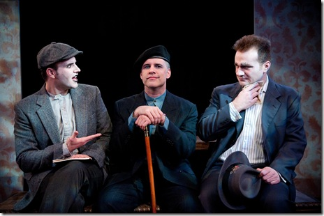 """(From L to R): Kyle Gibson (Ivan), Tom Hickey (Woland) and Rob Thomas (Berlioz) in Strawdog's """"The Master and Margarita"""".  Photo by Chris Ocken"""