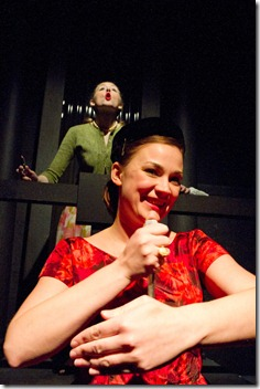 Lindsey Barlag (foreground) and Erika Schmidt in Gift Theatre's 'Night and Her Stars' by Richard Greenberg.