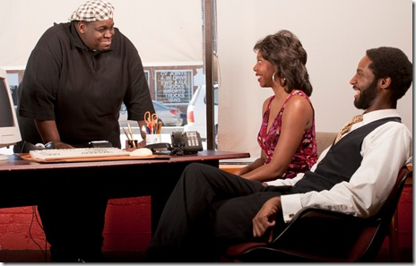 Warren Levon, Demetria Thomas, Michael Pogue in Raven Theatre's 'Radio Golf'. Photo by Dean LaPrairie.