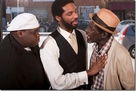 Warren Levon, Michael Pogue, and David Adams in Raven Theatre's 'Radio Golf' by August Wilson. Photo by Dean LaPrairie.